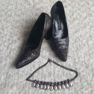 Via Spiga vintage snakeskin chunky heel pumps